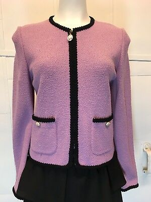 Women's St John Collection Cropped Knit Blazer Jacket Pink W/Black Piping Size 6
