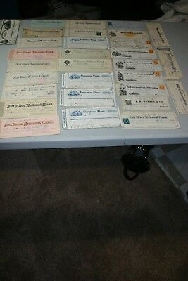 34 19th century checks, some with revenue stamps.