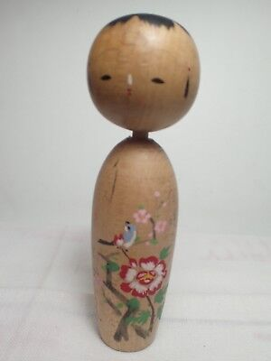 5 inch tall pretty kokeshi with flower and a bird painting (min136)