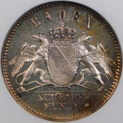 GEM PROOF Germany-Baden 1868 Silver 3 Kreuzer KM-246 NGC PF65