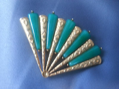 Beautiful Vintage Mid-Century Retro 14K-Gilt Fan Pin 5 Jade-Green Stones Mint