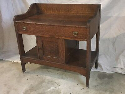 1800's Antique Old Growth Solid Quarter Sawn Oak Wash Stand Commode
