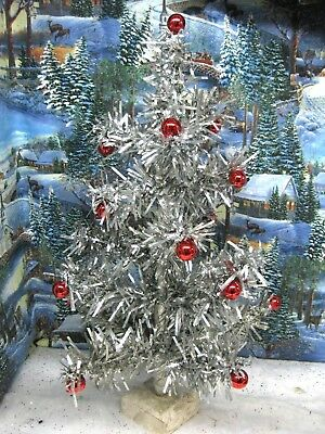 Vintage Silver Mylar Tinsel Christmas Tree Red Glass Berry Tips TABLE TOP 807