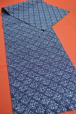 PZ96/70 Vintage Japanese Fabric Cotton Antique Boro Patch Indigo Blue 57.9""
