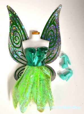 Barbie Doll Tinker Bell Fairy Doll Replacement FAIRY Wings Dress Shoes Set GREEN