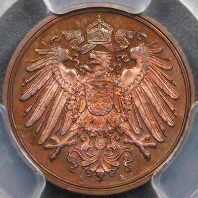 PROOF Germany-Empire 1909-A 1 Pfennig PCGS PR64 RB - Toned!