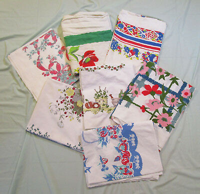 7 Pc Vintage Tablecloth Lot Floral Fruit Print Mid Century Cotton Linen READ