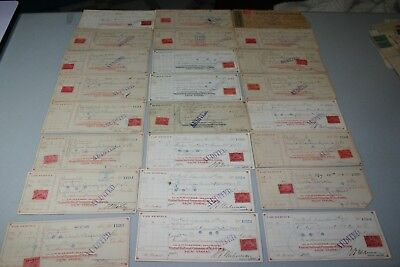 54 19th century checks with revenue stamps. Most Central Railroad Company.