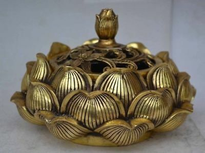 Collectible Brass Delicate China Lotus Flower Incense Burner