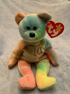 "Ty Beanie Babies Tie Dyed Peace Bear DOB 2/1/1996  8"" Tall .original tag"