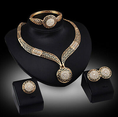New Fashion Necklace Bracelet Ring Rhinestone Wedding Party Women Earrings Set