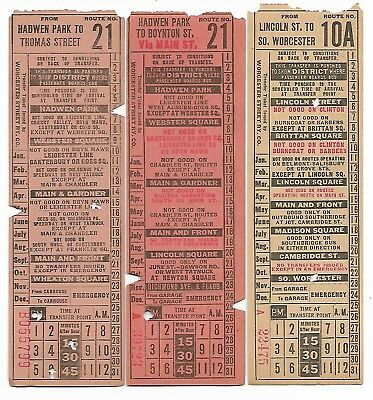 Vintage Lot of 3 Worcester St Rwy ticket for Hadwen Park Lincoln Main validated