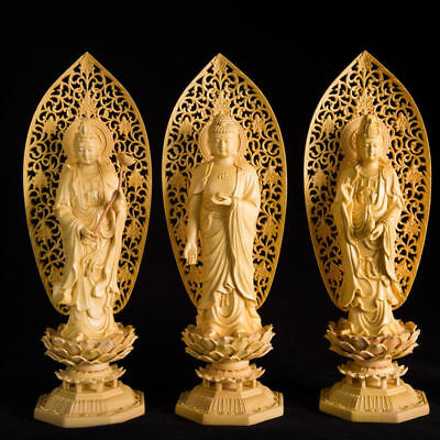 Chinese Boxwood Handwork Carving Buddha With Lotus Base Figure Statue