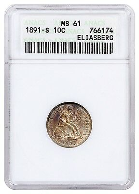 ELIASBERG Pedigreed 1891-S Seated Liberty Dime ANACS MS61 - COLORFULLY TONED