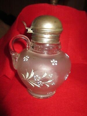 Antique Frosted Glass Syrup  Painted Floral Design Syrup Pitcher