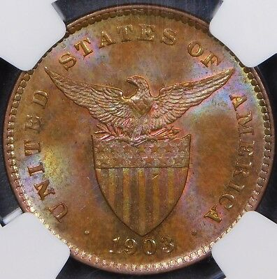 RAINBOW TONED US-Philippines 1903 1 Centavo NGC MS63 BN - STRUCK BY US MINT!