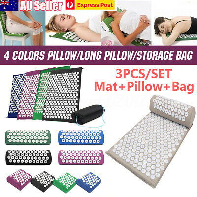 3pcs/set Acupressure Massage Yoga Mat Pillow Stress Pain Relief Body Relax AU