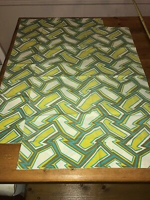 Pair Vintage Percale Chartreuse Green Teal Brown Mod Standard Pillowcases MCM