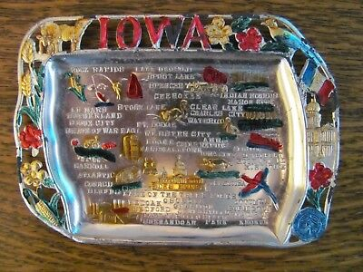 Vintage Metal Souvenir Mini TRAY from IOWA IA Made in JAPAN