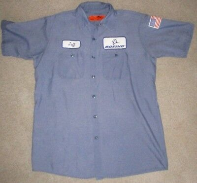 Blue Boeing Uniform Work Shirt Rockabilly JEFF US Flag Patch Short Sleeve Mens L