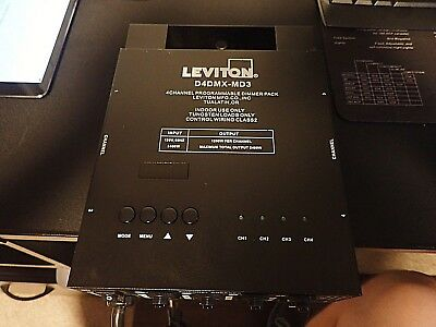 Leviton D4DMX-MD3 4-Ch. Programmable Dimmer Integrating Stand-Alone, 3-Pin DMX