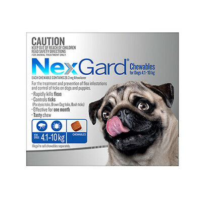 Nexgard Chewables for Dogs 4.1 - 10kgs BLUE   1, 2,  3 Pack & 6 Pack