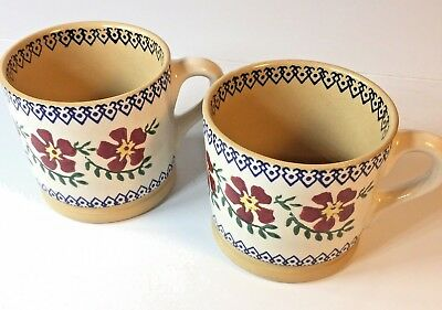 """Nicholas Mosse Pottery Set of Two Coffee Cups Old Rose Pattern 3"""" Ireland"""