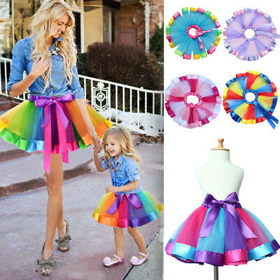 Kids Girls Rainbow Tutu Skirt Tulle Fluffy Princess Dance Dress Party US Stock