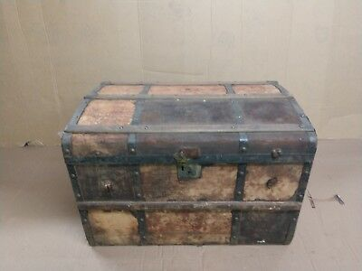 Vintage early 1900's Wood and Metal Travel Steam Trunk