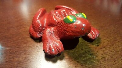 Vintage Old Red Cast Iron DEMPSTER Figural Advertising Frog Paperweight Antique