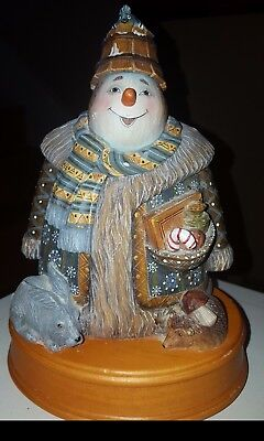 """G. DeBrekht 2002 Holiday Picnic Snowman Music Box - Plays """"Frosty The Snowman"""""""