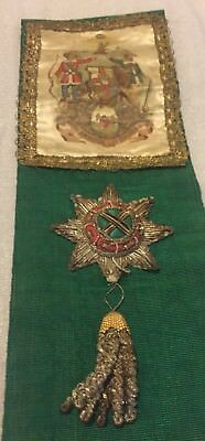 Antique Masonic Ancient Order of Foresters Green Sash AOF.