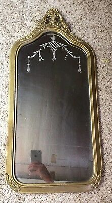 antique vintage Wood wall mirror 1923 Etched