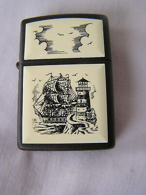 Zippo Lighter Scrimshaw Tall Sailing Ship And Lighthouse Scene