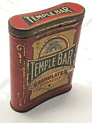 Scarce 2 oz Hip Flask style Temple Bar Granulated Tobacco Tin with Hinged Lid