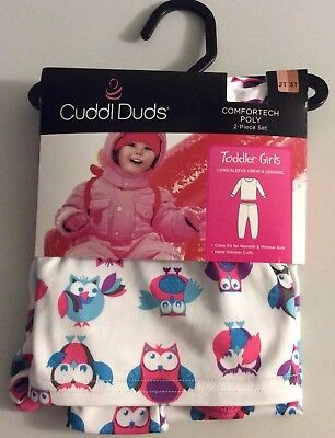 Cuddle duds Girls 2T / 3T Owls  Pink White Teal Purple Base Layer ComforTech