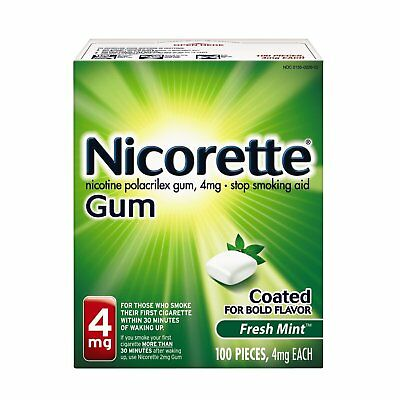 Nicorette Gum Fresh Mint 4 mg Stop Smoking Aid 100 count - EXP 03/2019
