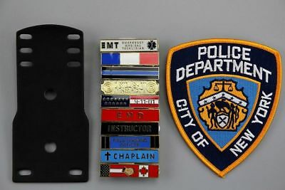 10 Citation bars and 3-Bar holder, Large NY Patch Set Unofficial US Police