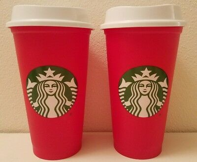 Starbucks 2018 Limited Edition Red Holiday Christmas Plastic Cup, Set of 2