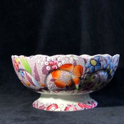 Deakin & Bailey pottery punch bowl, IMPERIAL FAIENCE mark, 1828-30