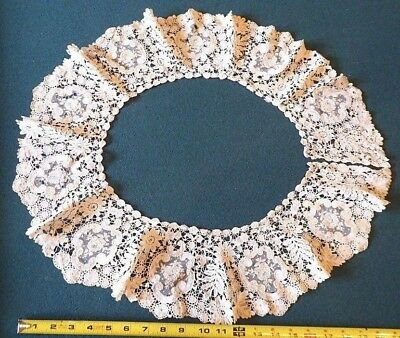 """ANTIQUE LACE COLLAR. OVAL/Round. IVORY. 24"""" outer diameter"""