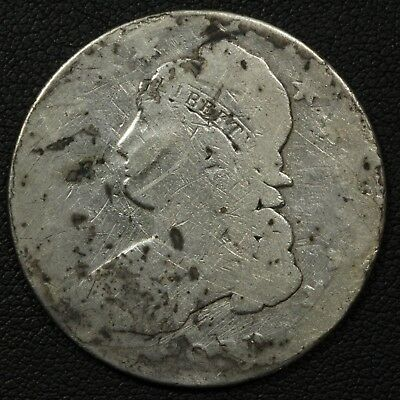 1833 Capped Bust Silver Half Dollar - Cleaned & Damaged