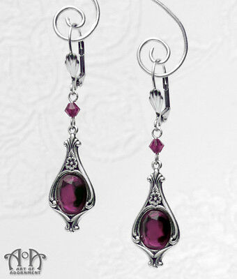 Gothic Antique Silver PURPLE CRYSTAL EARRINGS Victorian Style Dangle Drop E61
