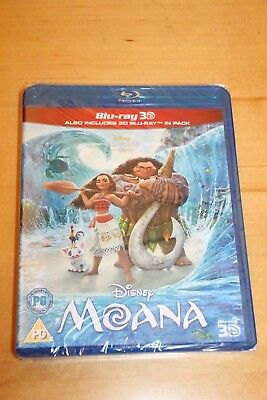 Disney's MOANA 3D + 2D Blu-Ray, Brand New/Sealed (2016)