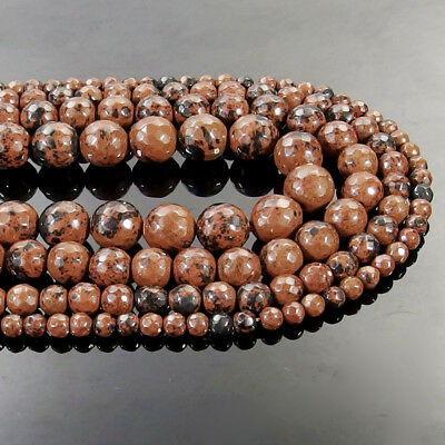 Natural Mahogany Obsidian Gemstone Faceted Round Beads 15.5'' 4mm 6mm 8mm 10mm