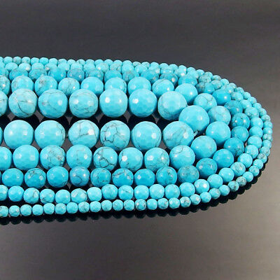 Blue Turquoise Gemstone Faceted Round Beads 15.5'' 4mm 6mm 8mm 10mm 12mm DIY