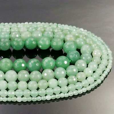 Green Aventurine Gemstone Faceted Round Beads 15.5'' 4mm 6mm 8mm 10mm 12mm DIY
