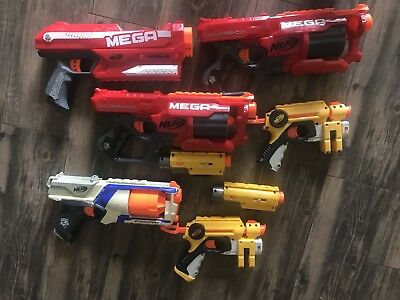 Lot of 6 NERF N-Strike Elite Mega CycloneShock Magnus Strongarm Dart Toy Gun