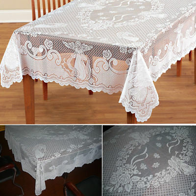 Antique Lace White Tablecloth Rectangle Round Table Cloth Cover Home Party Decor