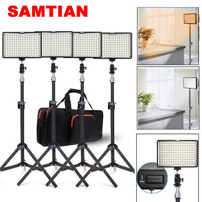 USA! 4 in 1 LED Video Lights Camera Photography Lighting + Battery + Light Stand